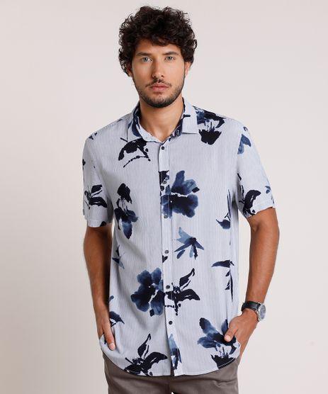 Camisa-Masculina-Relaxed-Listrada-com-Flores-Manga-Curta-Azul-9657159-Azul_1