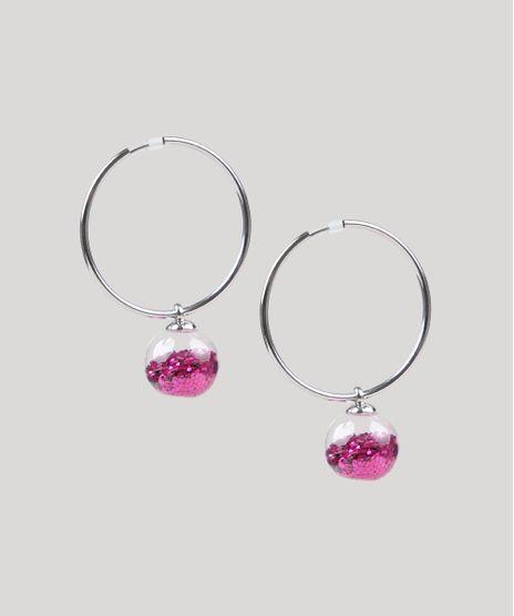 Brinco-Feminino-de-Argola-Carnaval-Esfera-com-Glitter-Rosa-9761520-Rosa_1