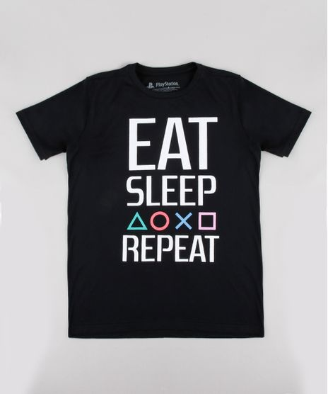 Camiseta-Infantil-Playstation--Eat-Sleep-Repeat--Manga-Curta-Preta-9837946-Preto_1