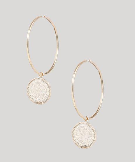 Brinco-Feminino-Folheado-de-Argola-com-Medalha-Dourado-9858998-Dourado_1