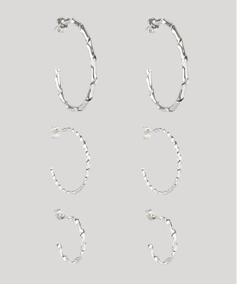 Kit-de-3-Brincos-Femininos-Folheados-de-Argola-Texturizados-Prateado-9859671-Prateado_1