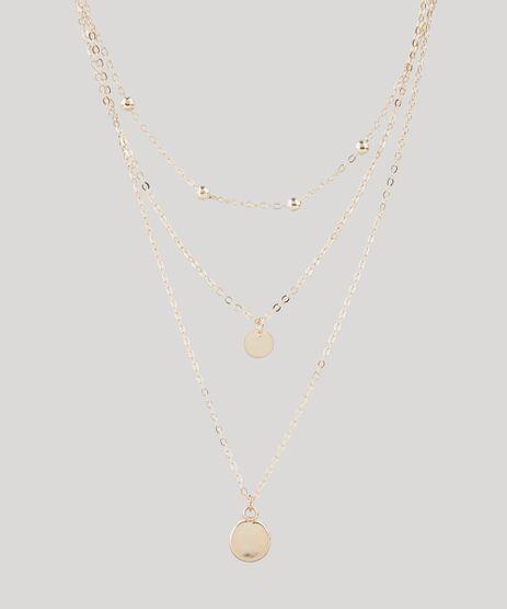 Colar-Feminino-Folheado-Triplo-com-Medalha-Dourado-9847844-Dourado_1