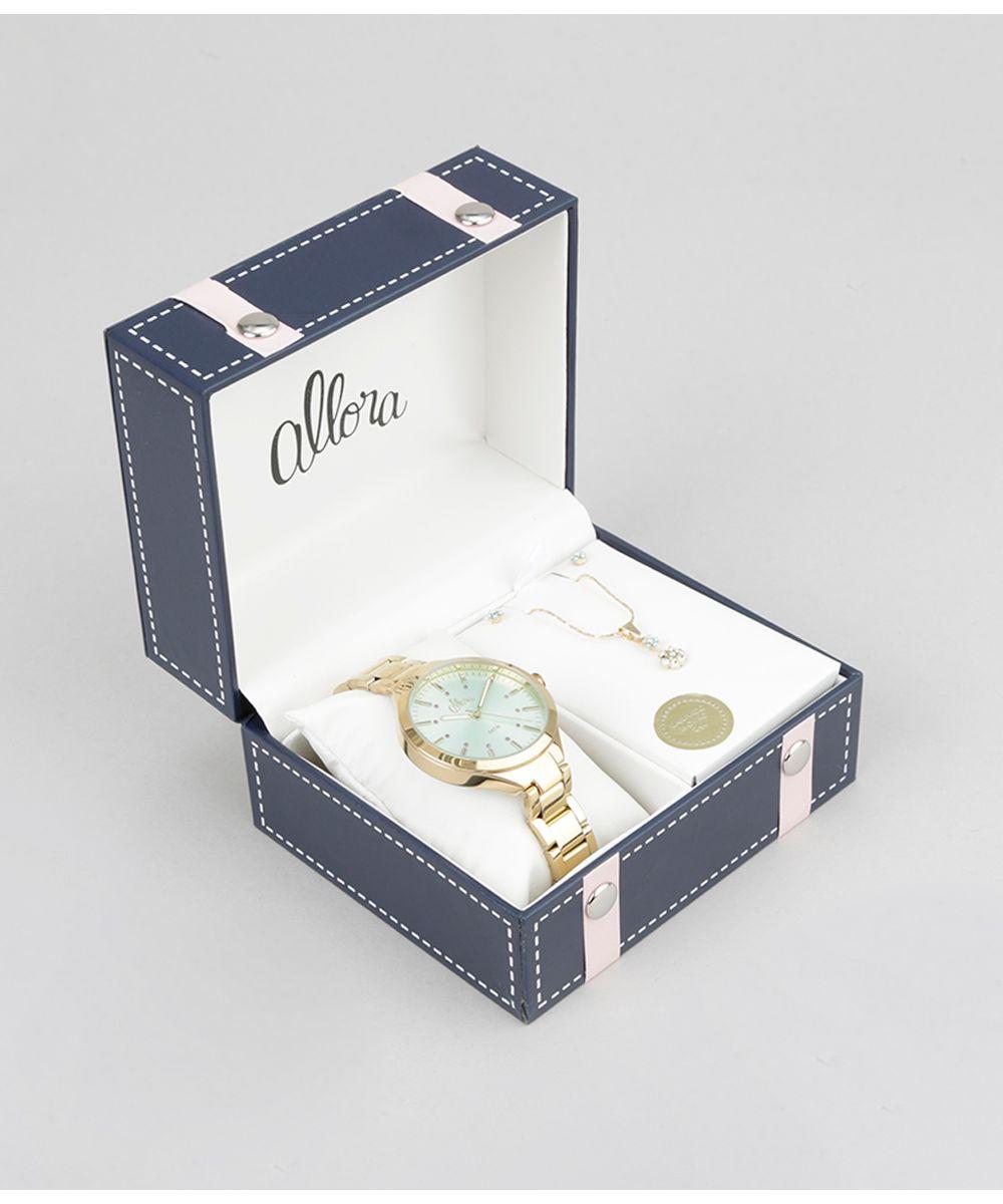 Kit de Relógio Analógico Allora Feminino + Colar + Brinco - AL2035FALK4V  Dourado - Único 849032bad4