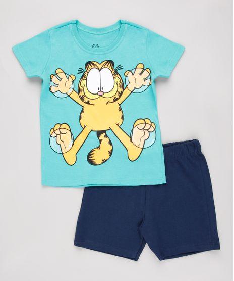 Conjunto-Infantil-Garfield-de-Camiseta-Manga-Curta-Verde---Bermuda-em-Moletom-Azul-Marinho-8749930-Azul_Marinho_1