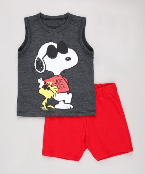 Conjunto-Infantil-Snoopy-de-Regata-Cinza-Mescla-Escuro---Bermuda-em-Moletom-Vermelha-9293650-Vermelho_1