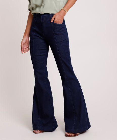 Calca-Jeans-Feminina-Flare-Cintura-Super-Alta-com-Martingale-Azul-Escuro-9833559-Azul_Escuro_1