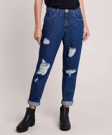 Calca-Jeans-Feminina-Mom-Cintura-Super-Alta-Destroyed-Azul-Escuro-9884328-Azul_Escuro_1
