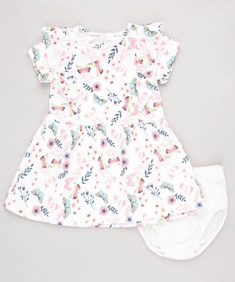 Vestido-Infantil-Estampado-Floral-com-Babado-Manga-Curta---Calcinha-Branco-9862249-Branco_1