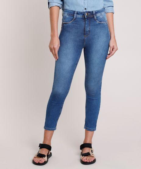 Calca-Jeans-Feminina-Sawary-Cigarrete-Cintura-Alta-com-Tachas-Azul-Medio-9857029-Azul_Medio_1
