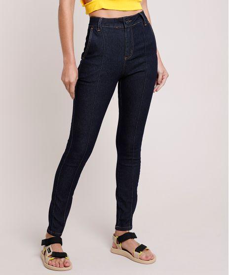 Calca-Jeans-Feminina-Sawary-Cigarrete-Cintura-Alta-com-Nervura-Azul-Escuro-9914195-Azul_Escuro_1