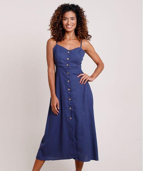 Vestido-Feminino-Midi-com-Linho-e-Botoes-Alca-Fina-Azul-Marinho-9849966-Azul_Marinho_1