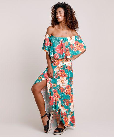 Vestido-Feminino-Longo-Ciganinha-Estampado-Floral-com-Babado-Manga-Curta-Verde-9861148-Verde_1