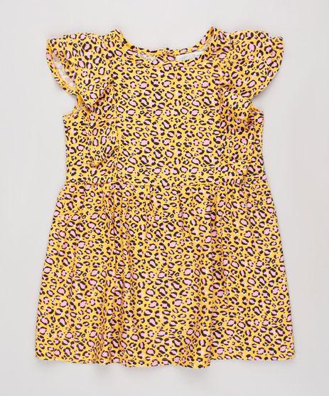 Vestido-Infantil-Estampado-Animal-Print-Onca-com-Babado-Manga-Curta-Amarelo-9852942-Amarelo_1