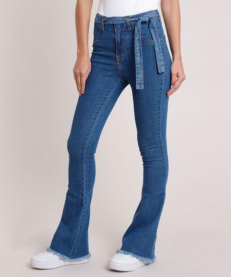 Calca-Jeans-Feminina-Sawary-Flare-Cintura-Alta-com-Faixa-para-Amarrar-Azul-Medio-9857032-Azul_Medio_1