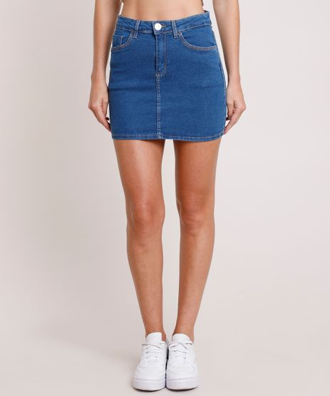 Saia-Jeans-Feminina-Curta-com-Bolsos-Azul-Medio-9865912-Azul_Medio_1
