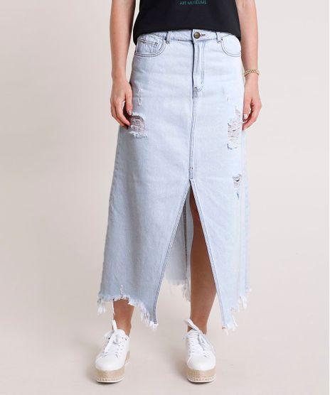 Saia-Jeans-Feminina-Longa-Destroyed-com-Fenda-Azul-Claro-9836677-Azul_Claro_1