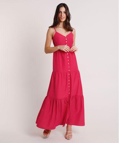 Vestido-Feminino-Mindset-Longo-com-Recortes-e-Botoes-Alca-Fina-Rosa-Escuro-9916533-Rosa_Escuro_1