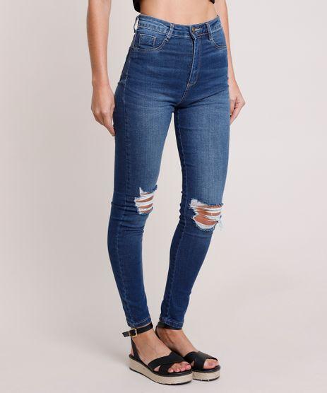 Calca-Jeans-Feminina-Sawary-Super-Skinny-Super-Lipo-Push-Up-Cintura-Alta-com-Rasgos-Azul-Medio-9895996-Azul_Medio_1