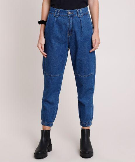 Calca-Jeans-Feminina-Jogger-Cintura-Super-Alta-com-Recorte-Azul-Escuro-9877489-Azul_Escuro_1