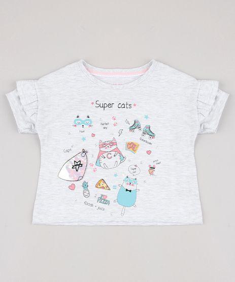 Blusa-Infantil-Gatos-com-Paetes-e-Babado-na-Manga-Cinza-Mescla-Claro-9828191-Cinza_Mescla_Claro_1