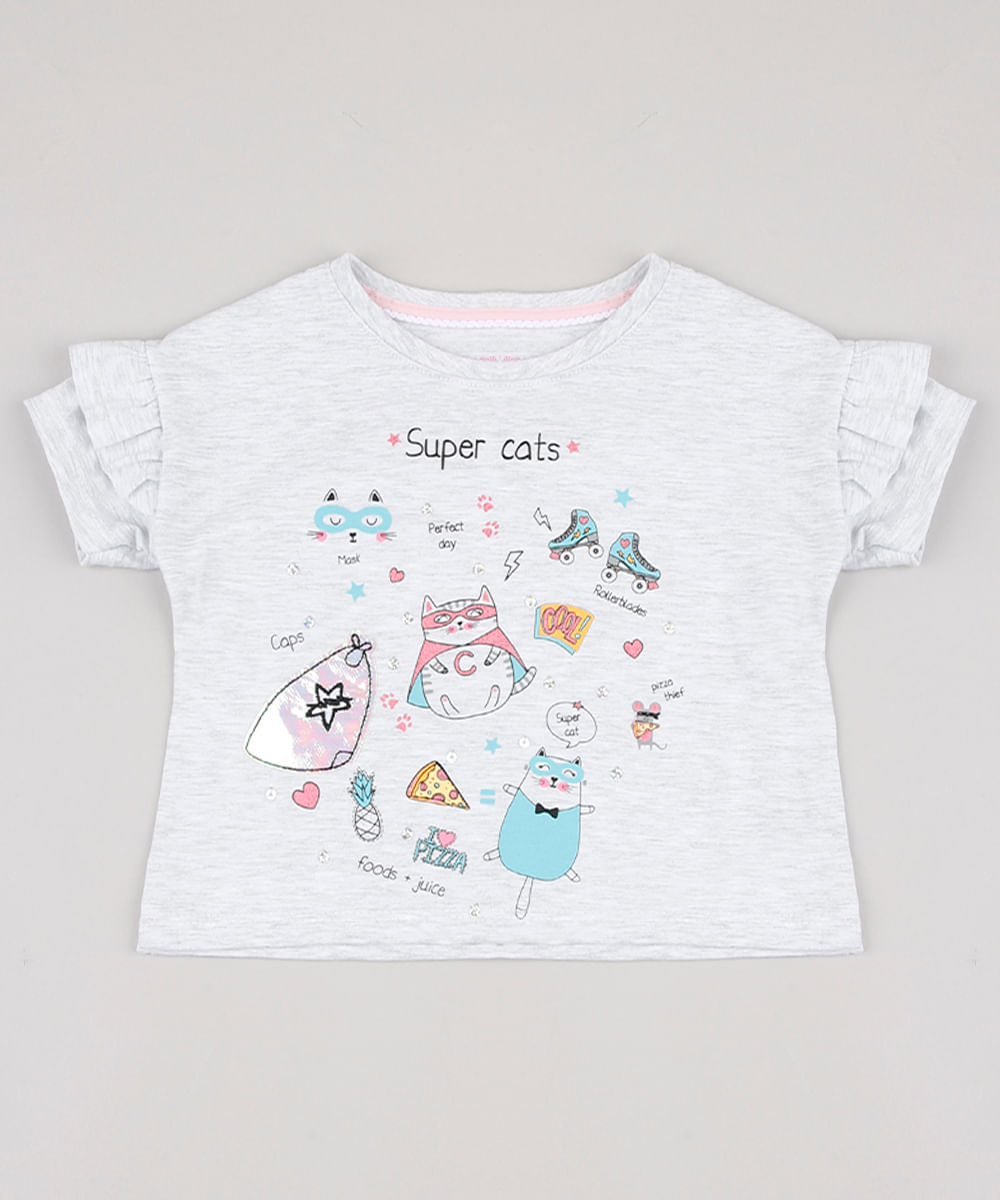Blusa Infantil Gatos com Paetês e Babado na Manga Cinza Mescla Claro