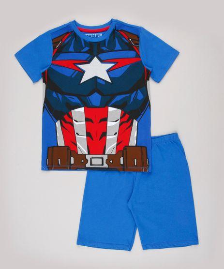 Pijama-Infantil-Capitao-America-Manga-Curta-Azul-9843992-Azul_1
