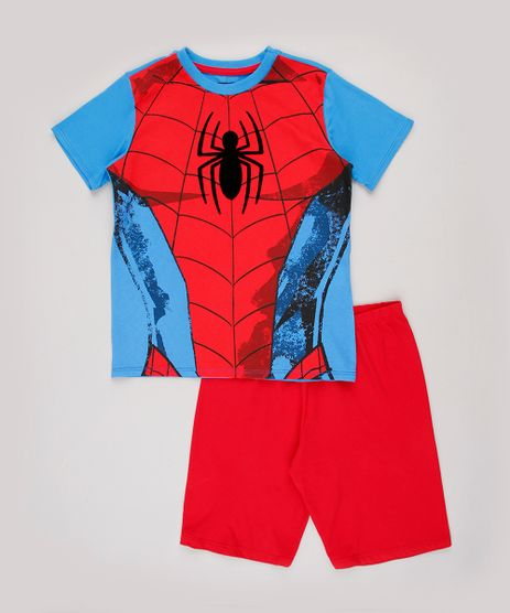 Pijama-Infantil-Homem-Aranha-Manga-Curta-Azul-9844000-Azul_1