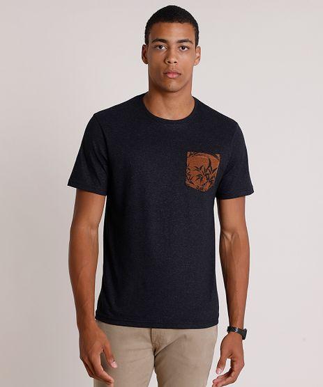 Camiseta-Masculina-com-Bolso-Estampado-Manga-Curta-Gola-Careca-Preta-9753001-Preto_1