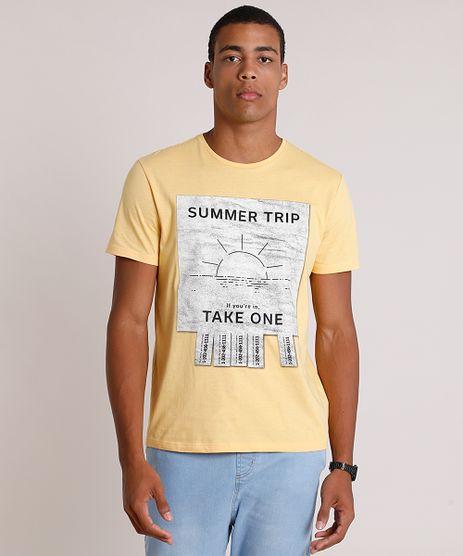 Camiseta-Masculina--Summer-Trip--Manga-Curta-Gola-Careca-Amarela-9725591-Amarelo_1