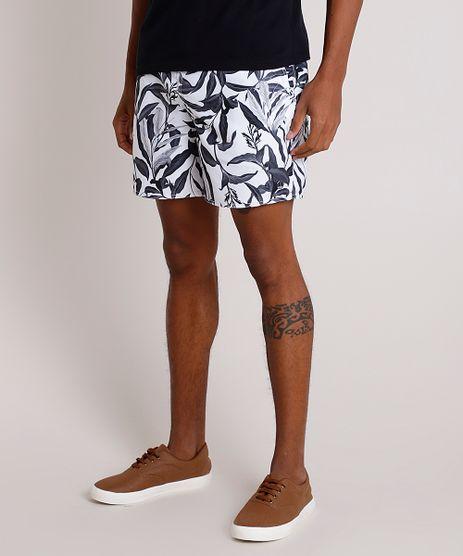 Short-Masculino-Estampado-de-Folhagem-com-Bolsos-Branco-9788130-Branco_1