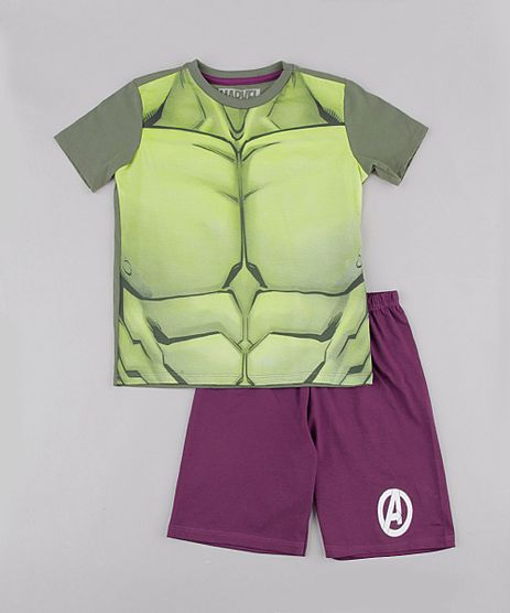 Pijama-Infantil-Hulk-Manga-Curta-Verde-9843998-Verde_1