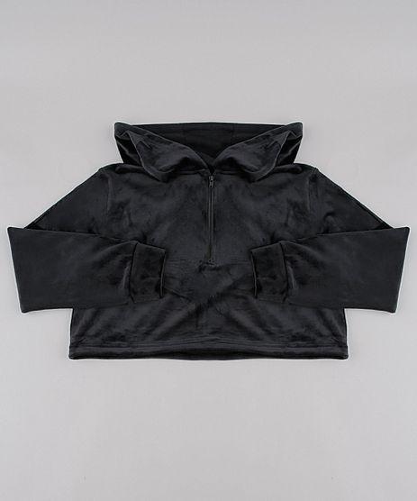 Blusao-Infantil-Cropped-em-Plush-com-Capuz-e-Meio-Ziper-Preto-9785968-Preto_1