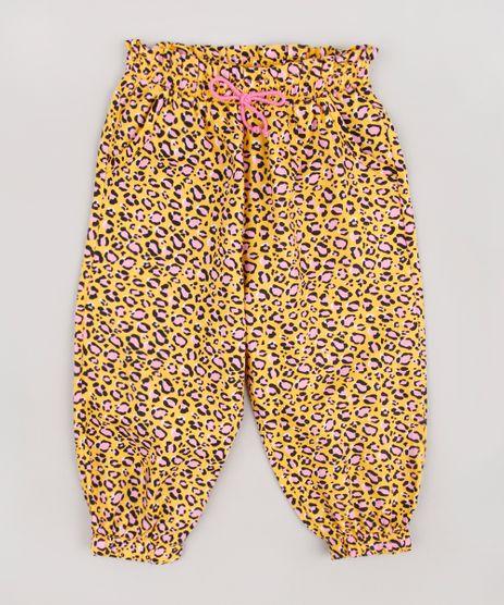 Calca-Infantil-Jogger-Estampada-Animal-Print-Onca-com-Laco-Amarela-9852941-Amarelo_1