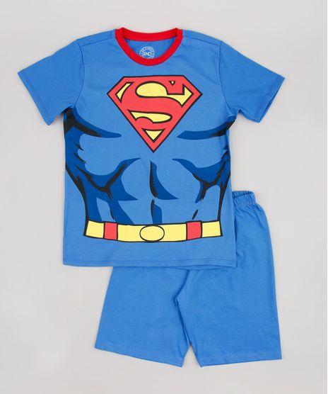 Pijama-Infantil-Super-Homem-Manga-Curta-Azul-9843997-Azul_1