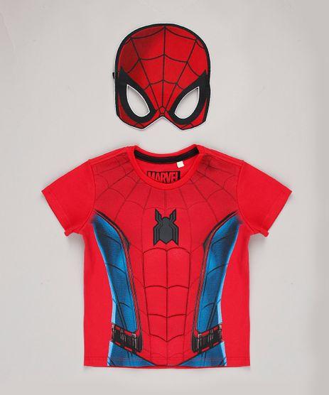 Camiseta-Infantil-Carnaval-Homem-Aranha-Manga-Curta---Mascara-Vermelha-9838318-Vermelho_1