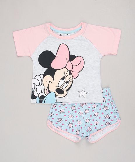 Pijama-Infantil-Minnie-Raglan-Manga-Curta-Cinza-Mescla-Claro-9844004-Cinza_Mescla_Claro_1