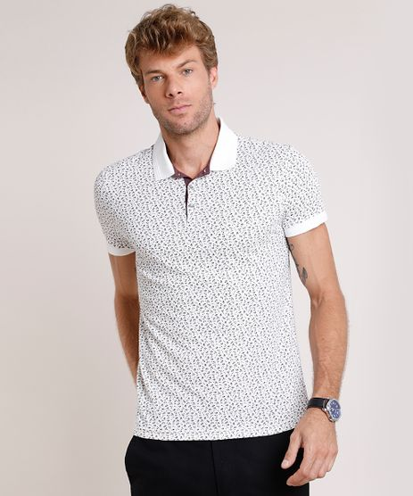 Polo-Masculina-Slim-Fit-Estampada-Mini-Print-Floral-em-Piquet-Manga-Curta-Off-White-9722023-Off_White_1