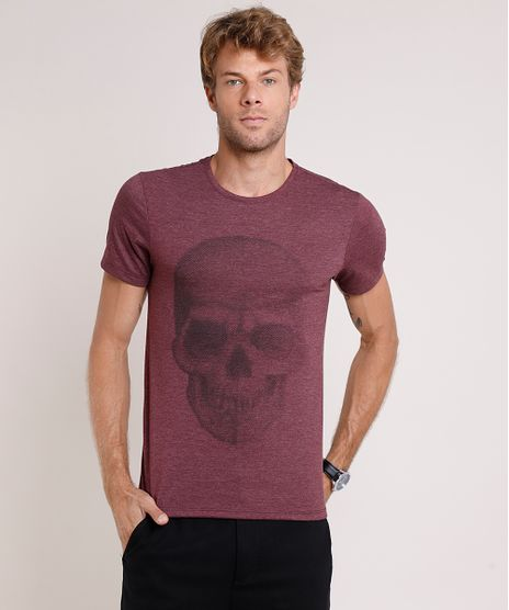 Camiseta-Masculina-Slim-Fit-Caveira-Manga-Curta-Gola-Careca-Vinho-9862346-Vinho_1
