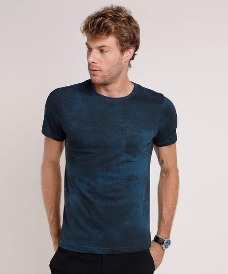 Camiseta-Masculina-Slim-Fit-Estampada-com-Bolso-Manga-Curta-Gola-Careca-Azul-Petroleo-9593439-Azul_Petroleo_1