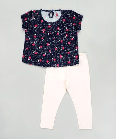 Conjunto-Infantil-de-Blusa-Estampada-Floral-Manga-Curta-Azul-Escuro---Calca-Legging-Rose-9858153-Rose_1