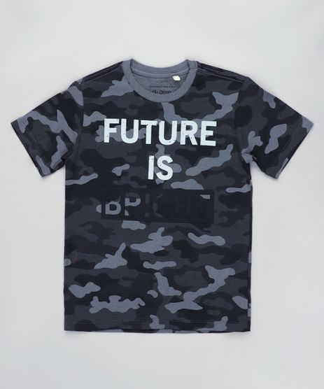 Camiseta-Infantil-Estampada-Camuflada--The-Future-is-Bright--Manga-Curta-Chumbo-9838012-Chumbo_1