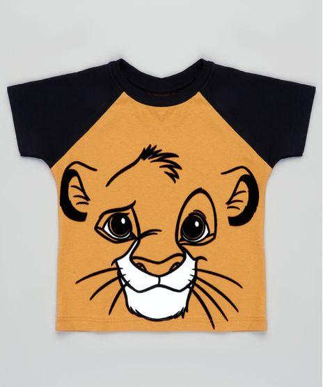 Camiseta-Infantil-Carnaval-Simba-O-Rei-Leao-Raglan-Manga-Curta-Mostarda-9838791-Mostarda_1