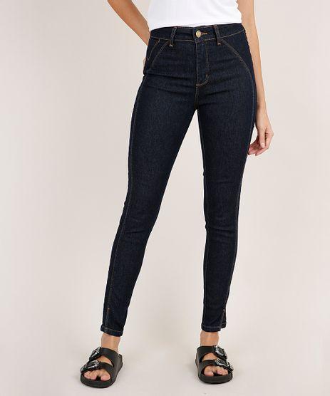 Calca-Jeans-Feminina-Sawary-Cigarrete-Cintura-Alta-com-Recorte-e-Fenda-Azul-Escuro-9895999-Azul_Escuro_1