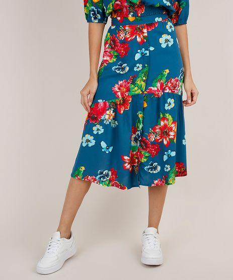 Saia-Feminina-Midi-Estampada-Floral-com-Papagaio-e-Fenda-Azul-Petroleo-9819268-Azul_Petroleo_1