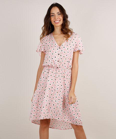 Vestido-Feminino-Midi-Mullet-Estampado-Floral-com-Botoes-Manga-Curta-Rosa-Claro-9869919-Rosa_Claro_1