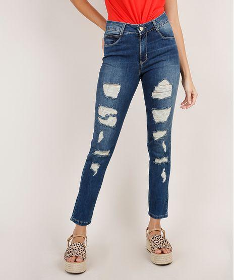 Calca-Jeans-Feminina-Sawary-Boyfriend-Cintura-Media-Destroyed-Azul-Medio-9896000-Azul_Medio_1