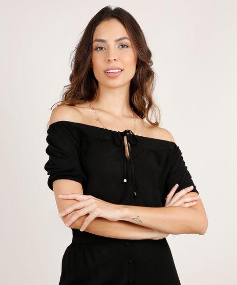 Blusa-Feminina-Cropped-Ombro-a-Ombro-Texturizada-com-Amarracao-Manga-Curta-Preta-9819259-Preto_1