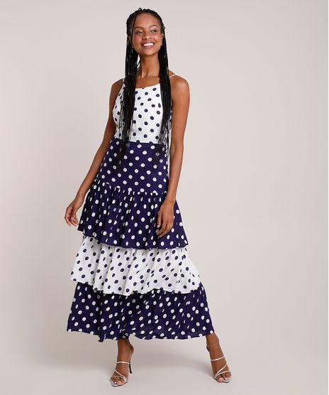 Vestido-Feminino-Mindset-Longo-Bicolor-Estampado-de-Poa-em-Camadas-Alca-Fina-Branco-9916539-Branco_1