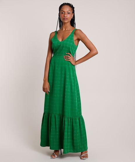 Vestido-Feminino-Mindset-Longo-Estampado-Quadriculado-com-Babado-Alca-Media-Verde-9910386-Verde_1