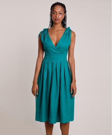 Vestido-Feminino-Mindset-Midi-em-Linho-com-Transpasse-e-Pregas-Alca-Larga-Verde-9909663-Verde_1